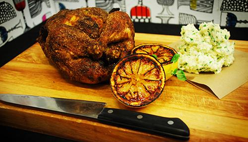 Bjärekyckling med chilirub och potatisstomp med Västerbottenost