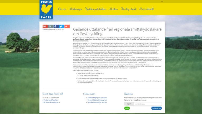 Gällande uttalande från regionala smittskyddsläkare om färsk kyckling