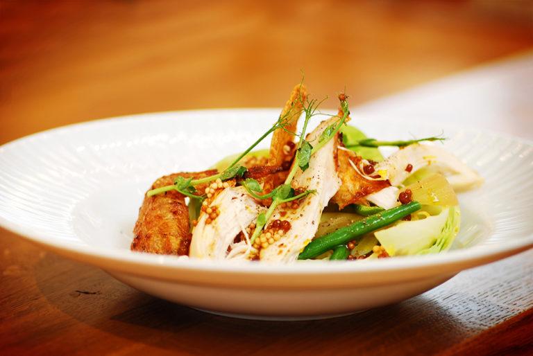 Kall sallad på grillad kyckling och picklad spetskål