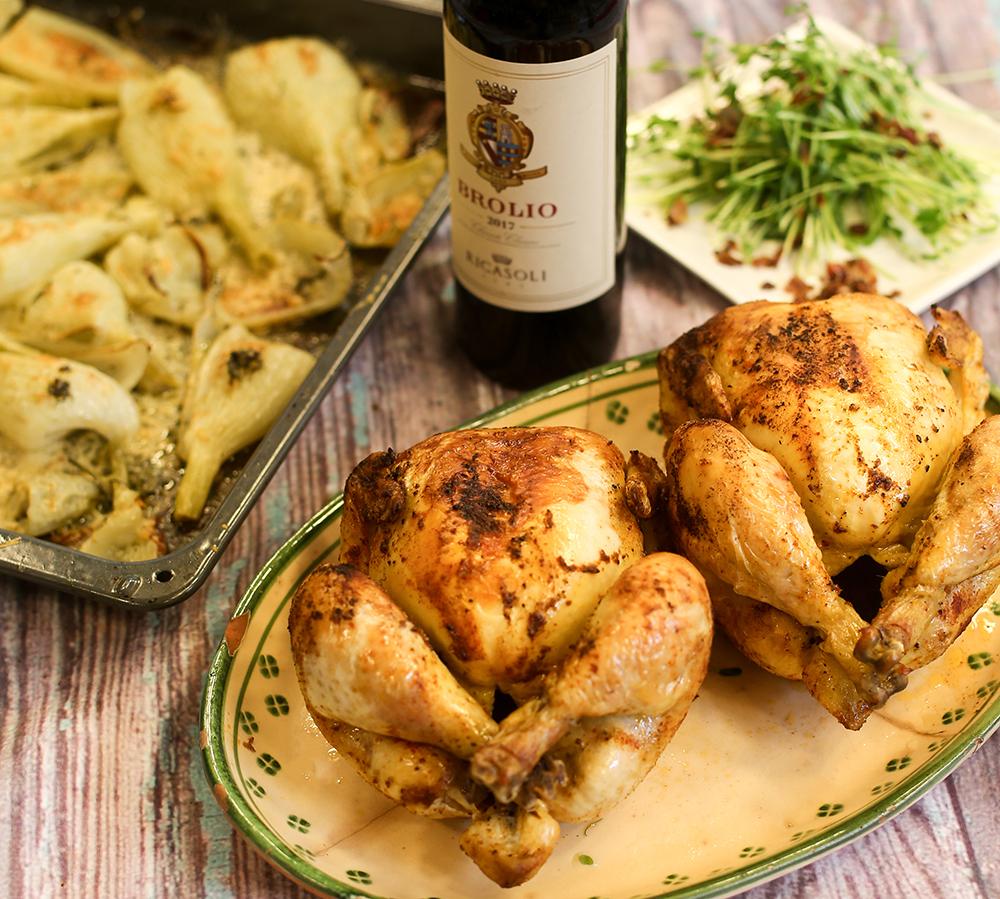 Helstekt kyckling med parmesangratinerad fänkål